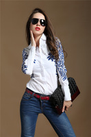 new 2014 Fashion  long-sleeve national trend baroque turn-down collar blue and white porcelain shirt women's blouse 1822