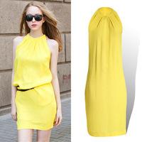 2014 Hot  fashion candy color tank dress sleeveless chiffon one-piece dress halter-neck basic one-piece dress 6color 5size 179
