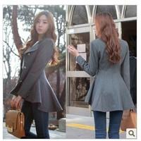 New Fashion Women Korean Dovetail Slim Wool Coat Ladies Designer Irregular Long Blazer Winter Outwear Windbreaker Female 9550