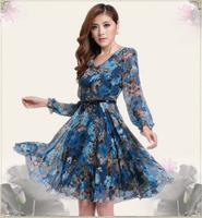 New 2014 summer dress Women Clothing Casual long maxi women Print Chiffon Dress Sale Items girl print dress brand 925-8306