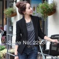 2014 Spring Women's Coat Turn down Collar Black One Button Slim Suit Jacket Blazer Coat 6801