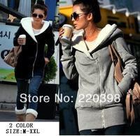 New 2014 Korea Women Hoodies Coat Warm Zip Up Outerwear Sweatshirts 2 Colors Black Gray 3269