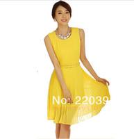 2014 new spring summer dress women solid color chiffon pleated sleeveless dress Slim ladies elegant Casual women's dresses  0018