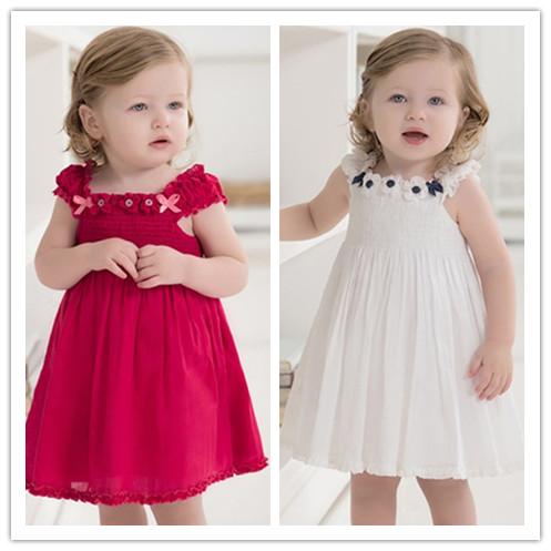 Dave db443 summer baby girls clothing princess dress spaghetti strap pleated one-piece dress child formal dress 1 - 5(China (Mainland))
