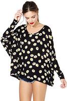 Fashion daisy print loose o-neck long-sleeve t-shirt female haoduoyi