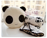 30cm super cute hot sale plush panda toy doll, stuffed pillow/cushion toy with blanket inside, birthday gift for girls, 1pc