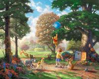 Thomas Kinkade Anime Oil Painting Art Print On Canvas Winnie The Pooh II Home Decoration Wall Art Free Shipping