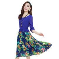 New Spring Summer 2014 Fashion Women Bohemia Dresses Print Chiffon Dress Women casual dresses Plus size XXL Vestido