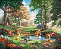 Thomas Kinkade Anime Oil Painting Art Print On Canvas Winnie The Pooh I Home Decoration Wall Art Free Shipping