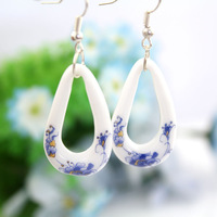 Ceramic jewelry blue and white blue peones ceramic earrings earring new arrival hot-selling