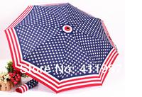 Free Shipping 2014 New Novelty Flag Three-folding Anti-UV Sunny And Rainy Umbrella.A176