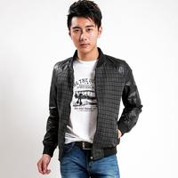 2014 male jacket slim thin plaid jacket male autumn top outerwear