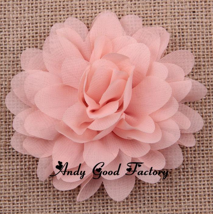 "Hot 50pcs Big 4"" Soft Chic Chiffon Flowers Flatback Flet Flowers for Hair Accessories Craft Flowers DIY Baby Headband FL084(China (Mainland))"