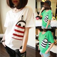 2014 spring summer women's clothes loose short-sleeve T-shirt female short-sleeve cartoon basic shirt