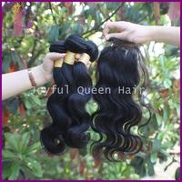 Joyful Q hair brazilian body wave with 1piece lace top closure 1b color body wave human hair bundles free shipping