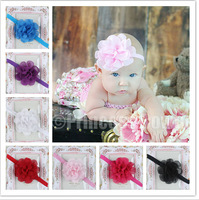 Baby Flower Headband Wedding Headbands  girls chiffon Flower hair accessories 8 colors Infant Elastic Band 10pcs/lot