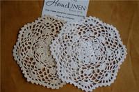 "Wedding Decor Hand made Lace Crochet Cup Mat, Cotton Ecru Doily ,Cup Pad,Coaster ,Embroidery Wedding Decor  21cm(8.27"")"