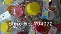 wholesale-free shipping 100 pcs/lot Colorful  Design GREASEPROOF PAPER CASE CUPCAKE LINERS CASES