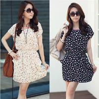 2014 summer mm plus size clothing slim  chiffon floral print dress short-sleeve dress Free shipping