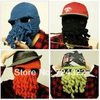 2014 new Novelty Handmade knitting Wool Funny Beard Octopus knight Hat unisex cap Crochet  Beanies party Halloween Free Shipping