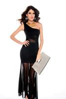 Lady's Black Trumpet Ankle-Length One-Shoulder Brief Dress