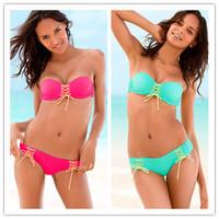 New 2014 Fashion Brand Bikinis Set Bandage Push Up Swimwear Women Vintage High Waist Swimsuit Padded Bathing Suit Free Shipping
