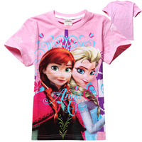 pink cartoon t shirt 2014 Frozen girls 100cotton fit 2-6yrs childrens tee shirt summer kids top 8057