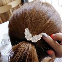 10 pcs Cute little angel wings diamond alloy elastic rubber band hair ring hair rope Korean hair jewelry new trend T1149