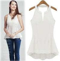 New 2014 Spring Women Blouse Ruffles Blouses Casual Blusas Femininas Slim Cut Out Sexy Tank White Blue Work Shirt Peplum Tops XL