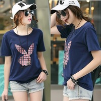 2014 spring women's cartoon summer t loose plus size mm basic shirt o-neck female short-sleeve top