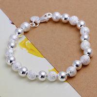 Luxury Fashion 925 Silver Bracelet Jewelry ! Trendy Women Men Beautiful 8mm Sand Smooth Beads Chain Bracelets H084