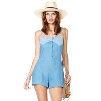 Denim blue jumpsuits adjustable shoulder strap short design front fly breasted full sizes XS-XXL