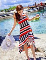 Women Summer Beach Dress New 2014 Holiday Ladies Beach Long Sundress Girls Striped Casual Red Dress Drop shipping