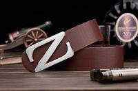 Korean men , Ms. belt buckle belt Smooth leather belt genuine factory direct letters customized A163