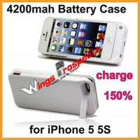 Charge 150% Above 4200mah Battery Charger Case for iPhone 5 5S With Holder Power Case Battery Case Free Shipping !10pcs/lot
