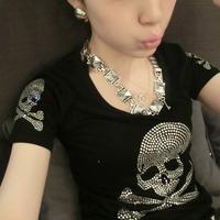 Spring and summer women's skull short-sleeve slim all-match diamond-studded women's female short-sleeve casual short-sleeve