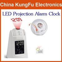 2014  New Free Shipping White LED Backlight Sound Control Sensor Talking Projection Alarm Clock