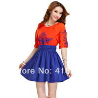 Ladies one piece dress embroidery printed fashion dress