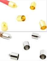 200pcs Silver / Gold plated Cord Ends Tip Caps Beads W/Loop 8x12mm For 7.5mm Leather Cord Bracelet or Necklace Jewelry Findings