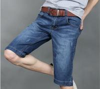 New 2014 Summer Straight Solid Classic Mid Cotton Zipper Fly Medium Hot Sale Jean Shorts Men Denim for Short Slim for Cb