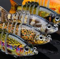 "5pc/lot New 2014 Proberos 6 Sections Fishing Lure 9cm/3.6"" 0.4oz/11g Swimbait Fishing bait 6# Black Hook Fishing Tackle"