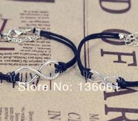10pcs Fashion Jewelry Vintage Silvers  Infinity Couple Black Rope Wax Charms  Bracelets &Bangle DIY Free Shipping P1981
