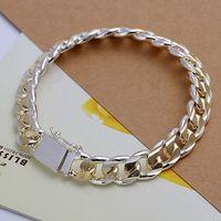 Luxury Fashion 925 Silver Bracelet Jewelry ! Trendy Women Men Beautiful Double Color 10mm Figaro Chains Bracelets H091