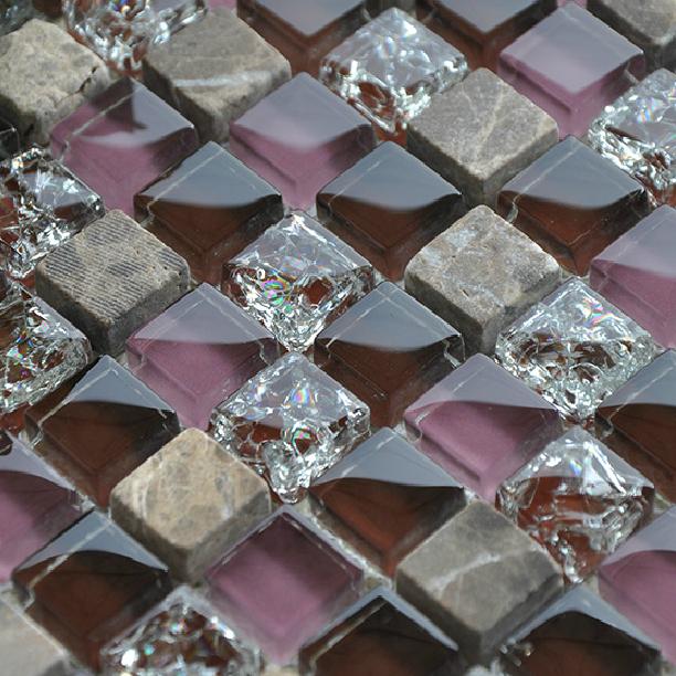 stone glass mosaics tile backsplash kitchen wall crackle tiles