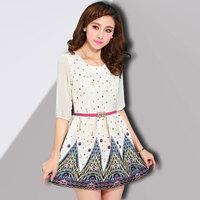 2014 summer fashion three quarter sleeve basic a-line skirt slim print one-piece dress