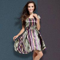 2014 women's plus size fashion stripe slim one-piece dress