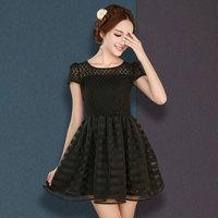 Hot-selling 2014 summer women's puff skirt fashion puff sleeve chiffon short-sleeve dress