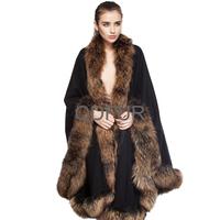 Winter Women's Genuine Real Raccoon Fur Pashmina Shawls Charm Wedding Bridal Wraps Natural Fur Outerwear Poncho QD70114-2
