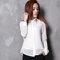 2014 spring elegant gem collar diamond shirt female