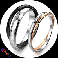 2PCS/Pair Titanium Wedding Ring  Double Layer Lovers Anniversary Rings Set Pair Stainless Steel